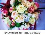glamour wedding bouquet | Shutterstock . vector #587864639