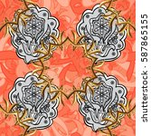 floral tiles. golden pattern on ... | Shutterstock .eps vector #587865155