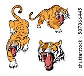 tiger set  isolated on white... | Shutterstock .eps vector #587866445