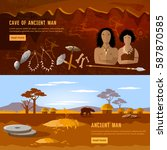 cave man and cave woman banner. ... | Shutterstock .eps vector #587870585