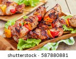 grilled pork kebab with red and ...   Shutterstock . vector #587880881