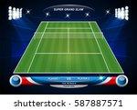 empty tennis court with set of... | Shutterstock .eps vector #587887571