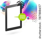 tablet pc icon with memphis... | Shutterstock .eps vector #587888657
