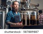 tattooed bearded caucasian and... | Shutterstock . vector #587889887