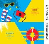 summer  banner layout  flat... | Shutterstock .eps vector #587890175