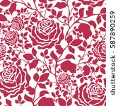 pattern with colorful rose... | Shutterstock .eps vector #587890259