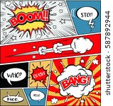 comic speech bubbles on a comic ... | Shutterstock .eps vector #587892944