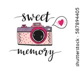 retro photo camera with stylish ... | Shutterstock .eps vector #587894405