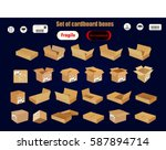 set of cardboard boxes vector... | Shutterstock .eps vector #587894714