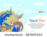 travel time poster. globe with... | Shutterstock .eps vector #587895254