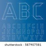 wireframe alphabet font.... | Shutterstock .eps vector #587907581