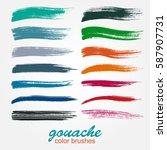 vector brushstrokes. gouache...   Shutterstock .eps vector #587907731