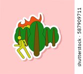 paper sticker on stylish... | Shutterstock .eps vector #587909711