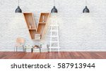 a library with bookshelves a... | Shutterstock . vector #587913944