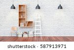 a library with bookshelves a... | Shutterstock . vector #587913971