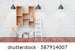 a library with bookshelves a... | Shutterstock . vector #587914007