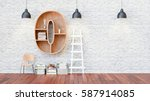 a library with bookshelves a... | Shutterstock . vector #587914085