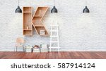 a library with bookshelves a... | Shutterstock . vector #587914124