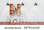 a library with bookshelves a... | Shutterstock . vector #587914145