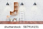 a library with bookshelves a... | Shutterstock . vector #587914151