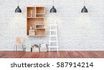 a library with bookshelves a... | Shutterstock . vector #587914214