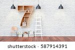 a library with bookshelves a... | Shutterstock . vector #587914391