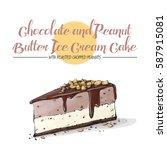 isolated tasty cake. sketch  ... | Shutterstock .eps vector #587915081