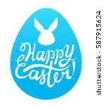 vector happy easter blue egg... | Shutterstock .eps vector #587915624