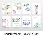 memphis geometric background... | Shutterstock .eps vector #587915639