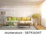 interior with sofa. 3d... | Shutterstock . vector #587916347