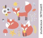 vector foxes clip art set... | Shutterstock .eps vector #587916605