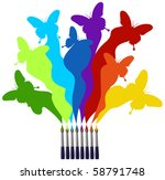 Eight paint brushes drawing a colorful rainbow of a butterfly swarm.  White background - stock photo