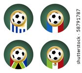 Composition with footballs and country flags. - stock photo