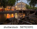 Stock photo evening amsterdam sunset in amsterdam beautiful amsterdam a beautiful sunset cityscape sunset 587923391
