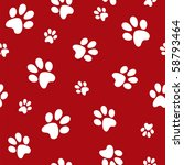 White Dog Footprints On Red...
