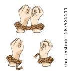 hands in rope tied up hand ... | Shutterstock .eps vector #587935511
