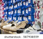 shoes with boxes on the shelves ...   Shutterstock . vector #587938559