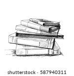 stack of books isolated on... | Shutterstock .eps vector #587940311