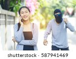 robbery stalking a woman and... | Shutterstock . vector #587941469