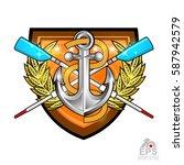 modern crossed oars for rowing...   Shutterstock .eps vector #587942579