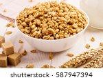 puffed sweet rice in caramel in ... | Shutterstock . vector #587947394