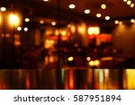 Stock photo reflection light on table in bar and pub at night background 587951894