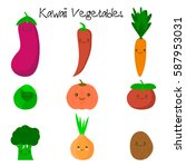 cute kawaii smiling vegetables. ... | Shutterstock .eps vector #587953031
