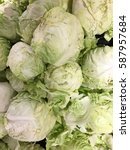 fresh green cabbages | Shutterstock . vector #587957684