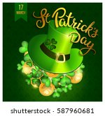 clovers  coins  green hat and... | Shutterstock .eps vector #587960681