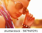 cool young freaky girl in... | Shutterstock . vector #587969291