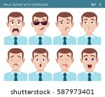 set of male facial emotions.... | Shutterstock .eps vector #587973401