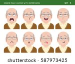 set of grandpa facial emotions. ... | Shutterstock .eps vector #587973425