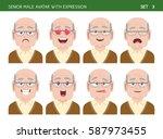 set of grandpa facial emotions. ... | Shutterstock .eps vector #587973455