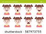 set of kid facial emotions.... | Shutterstock .eps vector #587973755